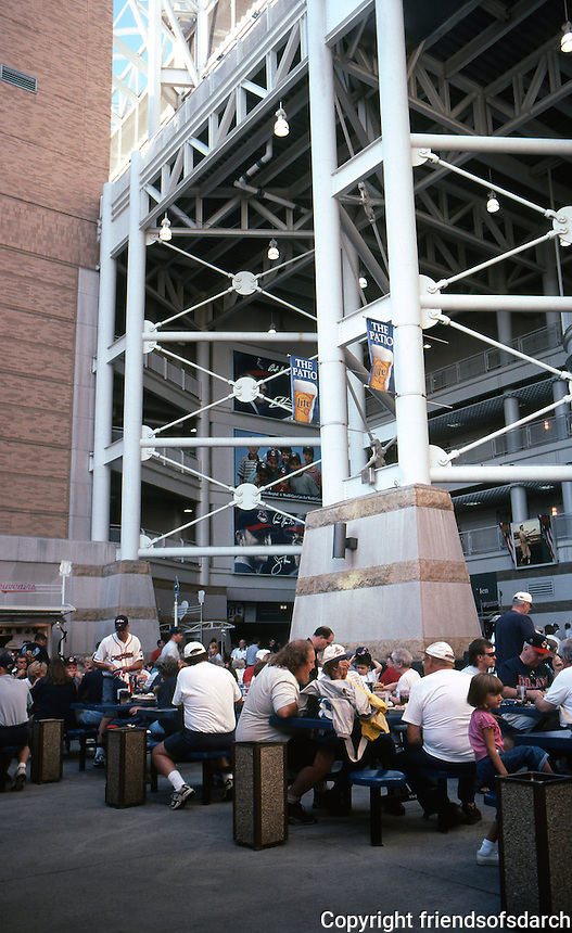 Ballparks: Cleveland--Jacobs Field, 1994. A food court behind third. Hellmut-Obata-Kassebaum Architects, St. Louis.