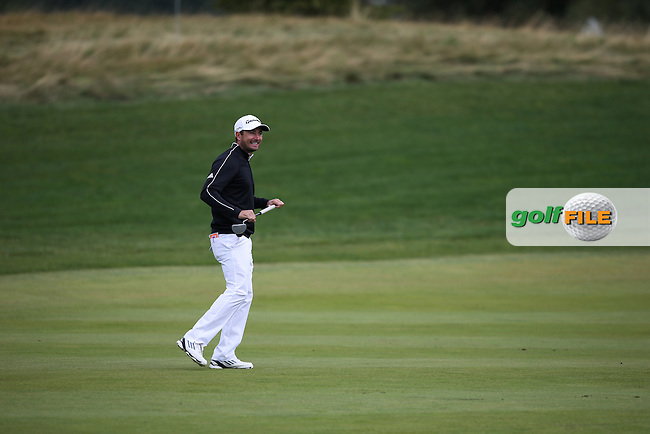 Gareth Maybin (NIR) laughing as he walks onto the 9th green during the Final Round of the D&D Real Czech Masters 2014 from the Albatross Golf Resort, Vysoky Ujezd, Prague. Picture:  David Lloyd / www.golffile.ie