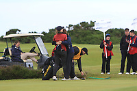 Amelia Garvey (NZL) wins on the 17th green during Matchplay Semi-Finals of the Women's Amateur Championship at Royal County Down Golf Club in Newcastle Co. Down on Saturday 15th June 2019.<br /> Picture:  Thos Caffrey / www.golffile.ie