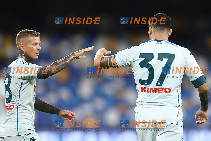 Andrea Petagna of SSC Napoli celebrates with team mate after scoring a goal  Amato Ciceretti <br /> during the friendly football match between SSC Napoli and Pescara Calcio 1936 at stadio San Paolo in Napoli, Italy, September 11, 2020. <br /> Photo Cesare Purini / Insidefoto
