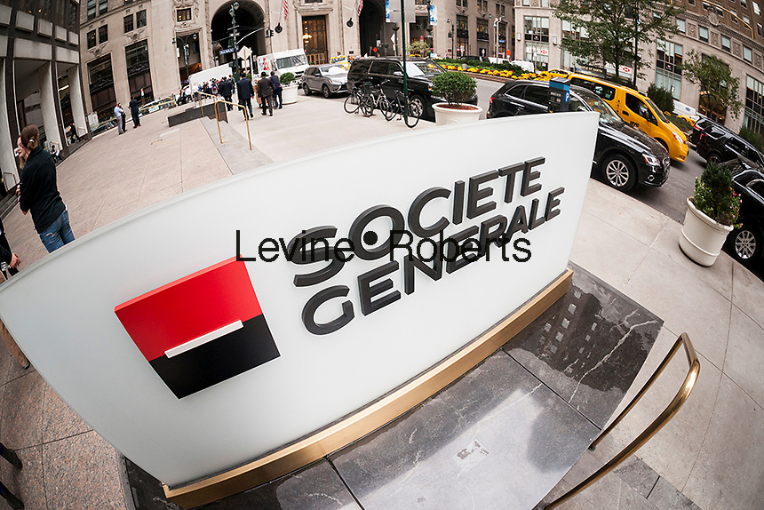 The New York headquarters of the French bank, Société Générale is seen on Thursday, November 3, 2016. Société Générale SA reported third-quarter profits that beat analysts' expectations. Société Générale is France's third largest bank measured by assets. (© Richard B. Levine)