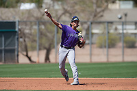 Colorado Rockies third baseman Colton Welker (4) during a Minor League Spring Training game against the Los Angeles Angels at Tempe Diablo Stadium Complex on March 18, 2018 in Tempe, Arizona. (Zachary Lucy/Four Seam Images)