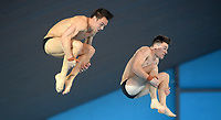 Great Britain's Tom Daley  and Matty Lee competing in the Men's 10m Synchro platform<br /> <br /> Photographer Hannah Fountain/CameraSport<br /> <br /> FINA/CNSG Diving World Series 2019 - Day 1 - Friday 17th May 2019 - London Aquatics Centre - Queen Elizabeth Olympic Park - London<br /> <br /> World Copyright © 2019 CameraSport. All rights reserved. 43 Linden Ave. Countesthorpe. Leicester. England. LE8 5PG - Tel: +44 (0) 116 277 4147 - admin@camerasport.com - www.camerasport.com