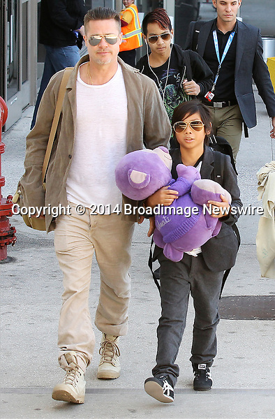 Pictured: Brad Pitt, Angelina Jolie, Shiloh Nouvel Jolie-Pitt, Maddox Chivan Jolie-Pitt, Pax Thien Jolie-Pitt, Knox Leon Jolie-Pitt, Zahara Marley Jolie-Pitt, Vivienne Marcheline Jolie-Pitt<br /> Mandatory Credit &copy; Ben Foster/Broadimage<br /> Brad Pitt, Angelina Jolie and family arriving at the Los Angeles International Airport<br /> <br /> 2/5/14, Los Angeles, California, United States of America<br /> <br /> Broadimage Newswire<br /> Los Angeles 1+  (310) 301-1027<br /> New York      1+  (646) 827-9134<br /> sales@broadimage.com<br /> http://www.broadimage.com<br /> <br /> <br /> Pictured: Brad Pitt, Angelina Jolie, Shiloh Nouvel Jolie-Pitt, Maddox Chivan Jolie-Pitt, Pax Thien Jolie-Pitt, Knox Leon Jolie-Pitt, Zahara Marley Jolie-Pitt, Vivienne Marcheline Jolie-Pitt<br /> Mandatory Credit &copy; Ben Foster/Broadimage<br /> Brad Pitt, Angelina Jolie and family arriving at the Los Angeles International Airport<br /> <br /> 2/5/14, Los Angeles, California, United States of America<br /> Reference: 020514_HDLA_BDG_027<br /> <br /> Broadimage Newswire<br /> Los Angeles 1+  (310) 301-1027<br /> New York      1+  (646) 827-9134<br /> sales@broadimage.com<br /> http://www.broadimage.com