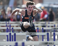 NWA Democrat-Gazette/J.T. WAMPLER Rogers Heritage's Liam Alderson competes in the 110 meter hurdles Wednesday April 11, 2018 at the Bulldog Relays in Fayetteville.