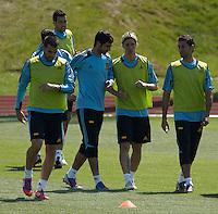 EURO 2012 - POLAND - Gniewino - 13 JUNE 2012 - Spain National Team official MD-1 training. Spanish players Fernando Torres, Alvaro Negredo, Raul Albiol and Alvaro Arbeloa.