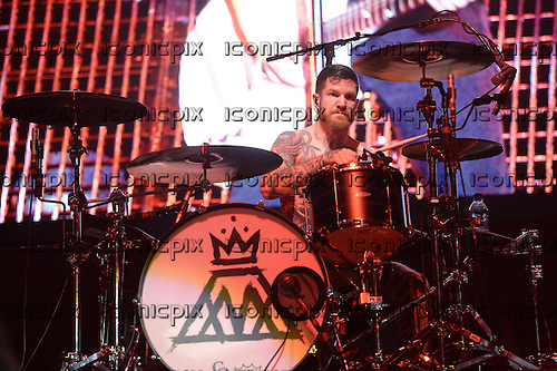 FALL OUT BOY - drummer Andy Hurley - performing live on the Save Rock and Roll Tour at Wembley Arena in London UK - 20 Mar 2014.  Photo credit: George Chin/IconicPix