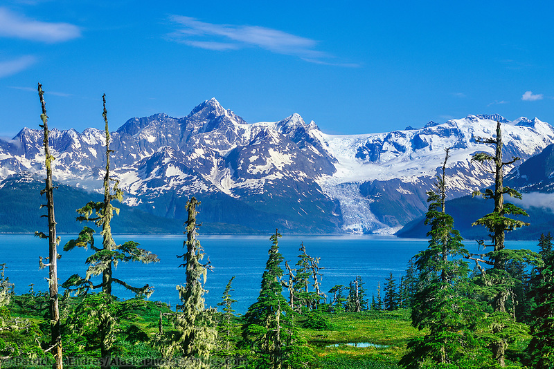 Mount Gilbert (left) Chugach mountains, Cascade glacier, Barry Arm, Prince William Sound, Alaska