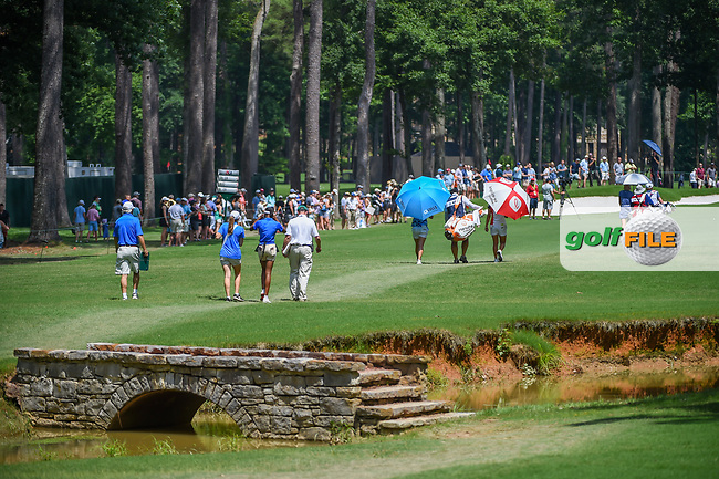 Michelle Wie (USA), Hyo Joo Kim (KOR), and Jihyun Kim (KOR) head down 2 during round 3 of the U.S. Women's Open Championship, Shoal Creek Country Club, at Birmingham, Alabama, USA. 6/2/2018.<br /> Picture: Golffile | Ken Murray<br /> <br /> All photo usage must carry mandatory copyright credit (© Golffile | Ken Murray)