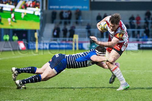 29.04.2016. AJ Bell Stadium, Salford, England. Aviva Premiership Sale Sharks versus Gloucester Rugby. Gloucester Rugby fullback Tom Marshall is tackled.