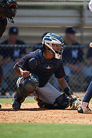 GCL Yankees East catcher Pedro Diaz (55) waits to receive a pitch during a game against the GCL Yankees West on August 8, 2018 at Yankee Complex in Tampa, Florida.  GCL Yankees West defeated GCL Yankees East 8-4.  (Mike Janes/Four Seam Images)