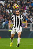 5th November 2017, Allianz Stadium, Turin, Italy; Serie A football, Juventus versus Benevento; Giorgio Chiellini plays the ball forward