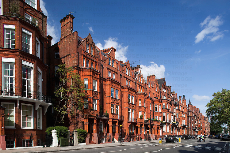 Victorian building in red brick, partly designed by John James Stevenson (circa 1880), Pont street, Kensington, London, England, United Kingdom