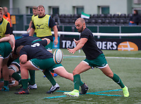 Jordan Burns of Ealing Trailfinders warming up ahead of    the RFU Championship Cup match between Ealing Trailfinders and Ampthill RUFC at Castle Bar , West Ealing , England  on 28 September 2019. Photo by Alan  Stanford / PRiME Media Images