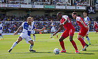 Amari'i Bell of Fleetwood Town takes on Stuart Sinclair of Bristol Rovers during the Sky Bet League 1 match between Bristol Rovers and Fleetwood Town at the Memorial Stadium, Bristol, England on 26 August 2017. Photo by Mark  Hawkins.