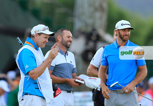 Sergio Garcia (ESP) and Dustin Johnson (USA) finish on the 9th green during Friday's Round 2 of the 2016 U.S. Open Championship held at Oakmont Country Club, Oakmont, Pittsburgh, Pennsylvania, United States of America. 17th June 2016.<br /> Picture: Eoin Clarke | Golffile<br /> <br /> <br /> All photos usage must carry mandatory copyright credit (&copy; Golffile | Eoin Clarke)