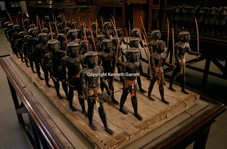 Wooden model portray a regiment of Nubian archers (bowmen), from the tomb of 11th dynasty prince Mesehti, official, from Assyut, Egyptian Museum, Cairo, Egypt
