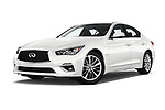 Stock pictures of low aggressive front three quarter view of 2018 Infiniti Q50 LUXE 4 Door Sedan Low Aggressive