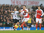 Tottenham's Mousa Dembele tussles with Arsenal's Aaron Ramsey<br /> <br /> - English Premier League - Tottenham Hotspur vs Arsenal  - White Hart Lane - London - England - 5th March 2016 - Pic David Klein/Sportimage