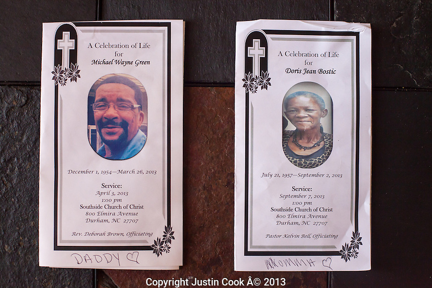 Funeral programs for Sheryl Bostic's father, Michael Wayne Green, and mother, Doris Jean Bostic, who both passed away this year.