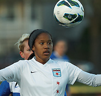 Chicago Red Stars midfielder Zakiya Bywaters (6) traps the ball. In a National Women's Soccer League Elite (NWSL) match, the Boston Breakers (blue) defeated Chicago Red Stars (white), 4-1, at Dilboy Stadium on May 4, 2013.