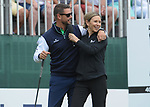 Ireland's Keith Duffy with presenter Di Dougherty<br /> <br /> Golf - Day 1 - Celebrity Cup 2018 - Saturday 30th June 2018 - Celtic Manor Resort  - Newport<br /> <br /> &copy; www.sportingwales.com- PLEASE CREDIT IAN COOKCelebrity Cup 2018<br /> Celtic Manor Resort<br /> 30.06.18<br /> &copy;Steve Pope <br /> Fotowales