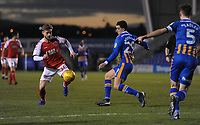 Fleetwood Town's Conor McAleny under pressure from Shrewsbury Town's Oliver Norburn<br /> <br /> Photographer Kevin Barnes/CameraSport<br /> <br /> The EFL Sky Bet League One - Shrewsbury Town v Fleetwood Town - Tuesday 1st January 2019 - New Meadow - Shrewsbury<br /> <br /> World Copyright © 2019 CameraSport. All rights reserved. 43 Linden Ave. Countesthorpe. Leicester. England. LE8 5PG - Tel: +44 (0) 116 277 4147 - admin@camerasport.com - www.camerasport.com