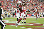Arizona Cardinals wide receiver Larry Fitzgerald (11)makes a touchdown reception during a game against the Atlanta Falcons at University of Phoenix Stadium in Glendale, Arizona on 10/27/13.
