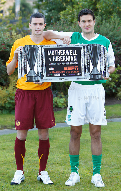 Jamie Murphy and Ian Murray at the Hilton Hotel, Glasgow to promote the new SPL season on ESPN as Motherwell take on Hibs this Sunday