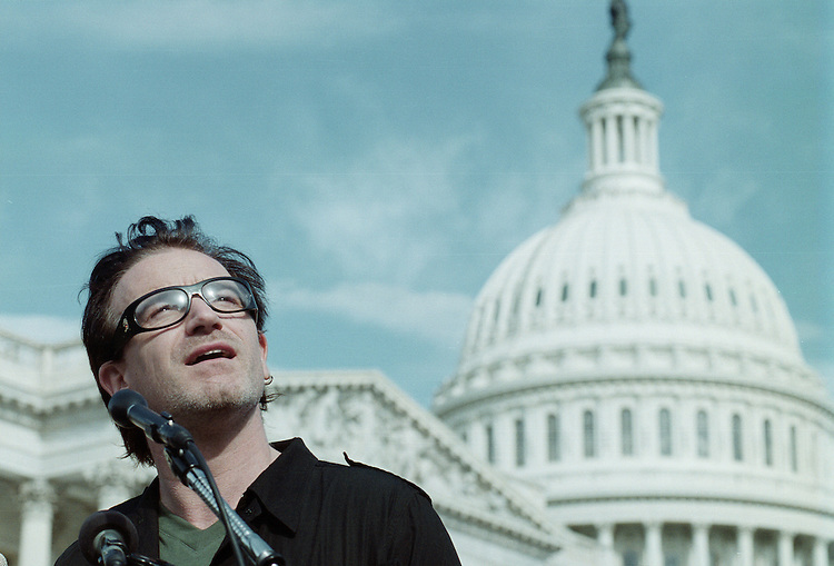 bono3(bc)092100--Bono of U2 speaks during a press conference on third world debt relief at the US Capitol..