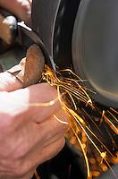 Europe/France/Corse/2A/Corse-du-Sud/Cuttoli-Corticchiato: Jean Biancucci Coutelier polit ses couteaux- fabrication des couteaux corses