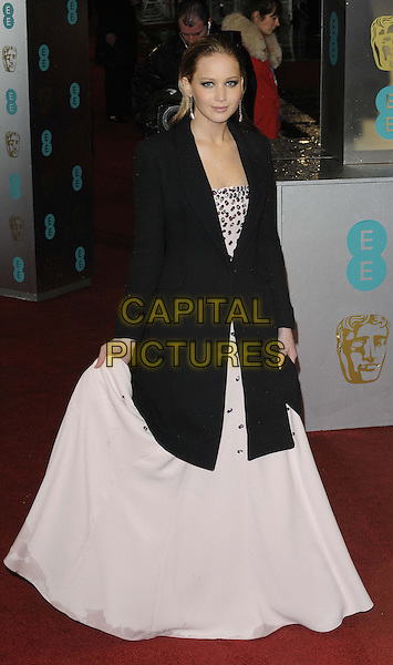 Jennifer Lawrence.EE British Academy Film Awards at The Royal Opera House, London, England 10th February 2013.BAFTA BAFTAS arrivals full length black white coat white dress pink holding skirts .CAP/CAN.©Can Nguyen/Capital Pictures.