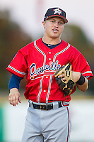 Danville Braves third baseman Jordan Edgerton (18) during the game against the Burlington Royals at Burlington Athletic Park on July 5, 2014 in Burlington, North Carolina.  The Royals defeated the Braves 5-4.  (Brian Westerholt/Four Seam Images)