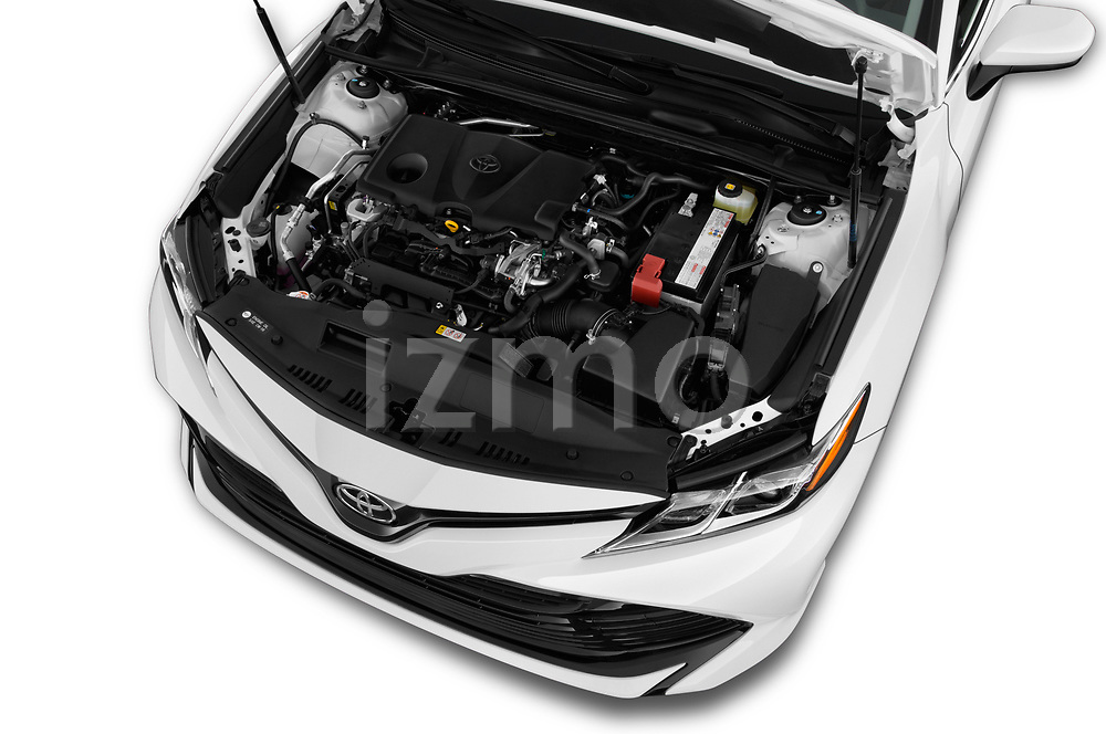 Car stock 2018 Toyota Camry LE Auto 4 Door Sedan engine high angle detail view