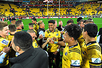 The Hurricanes celebrate winning the Super Rugby match between the Hurricanes and Crusaders at Westpac Stadium in Wellington, New Zealand on Saturday, 10 March 2018. Photo: Dave Lintott / lintottphoto.co.nz