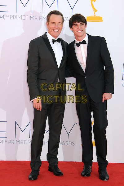 Bryan Cranston, RJ Mitte.The 64th Anual Primetime Emmy Awards - Arrivals, held at Nokia Theatre L.A. Live in Los Angeles, California, USA..September 23rd, 2012.emmys full length black white tuxedo bow tie shirt r.j..CAP/ADM/BP.©Byron Purvis/AdMedia/Capital Pictures.