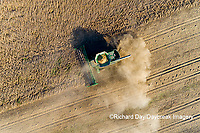 63801-13209 Harvesting soybeans in fall-aerial Marion Co. IL