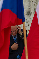 Ivan Gasparovic President of Slovakia talks on his phone during the Visegrad Group (V4) summit in Visegrad, 55 km (34 miles) north of Visegrad, Hungary on October 08, 2011. ATTILA VOLGYI