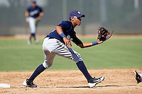 Milwaukee Brewers minor league infielder Orlando Arcia #6 during an instructional league game against the Cincinnati Reds at Maryvale Baseball Park on October 3, 2012 in Phoenix, Arizona.  (Mike Janes/Four Seam Images)