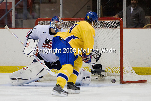 Brandon Maxwell (US White - 35), Jacob Josefson (Sweden 29) - Team Sweden defeated Team USA White 7-3 on Friday, August 8, 2008, in the 1980 Rink during the 2008 US National Junior Evaluation Camp and Summer Hockey Challenge in Lake Placid, New York.