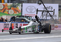 Oct 29, 2016; Las Vegas, NV, USA; NHRA top alcohol dragster driver Alex Laughlin during qualifying for the Toyota Nationals at The Strip at Las Vegas Motor Speedway. Mandatory Credit: Mark J. Rebilas-USA TODAY Sports