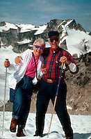 Elderly couple on Pernicular Pass, Bugaboo Mountains, British Columbia, Canada