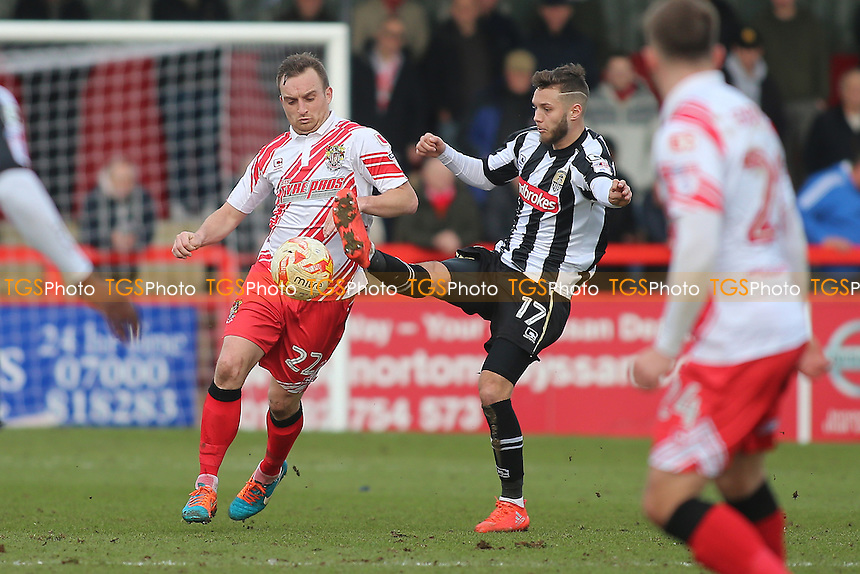 Charlie Lee of Stevenage and Jorge Grant of Notts County during Stevenage vs Notts County, Sky Bet EFL League 2 Football at the Lamex Stadium on 4th March 2017