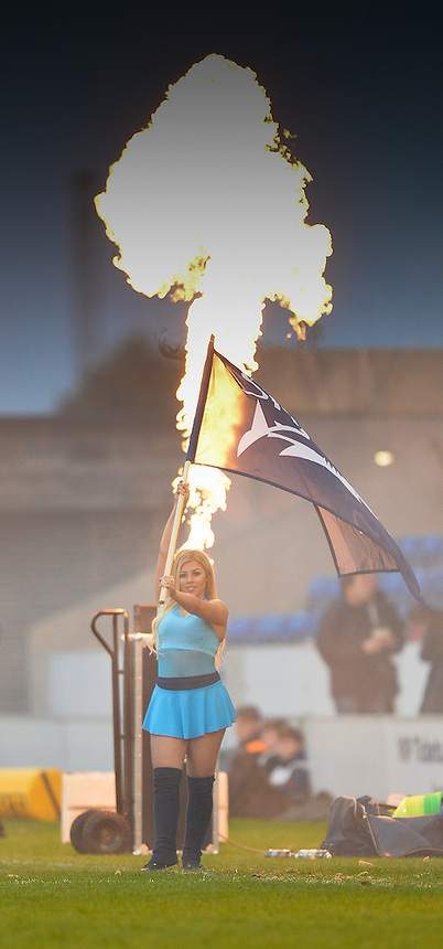 They say the cheerleaders are hot stuff<br /> <br /> Photographer Dave Howarth/CameraSport<br /> <br /> Rugby Union - European Rugby Challenge Cup Quarter Final - Sale Sharks v Montpellier - Friday 8th April 2016 - AJ Bell Stadium - Eccles, Manchester	<br /> <br /> &copy; CameraSport - 43 Linden Ave. Countesthorpe. Leicester. England. LE8 5PG - Tel: +44 (0) 116 277 4147 - admin@camerasport.com - www.camerasport.com