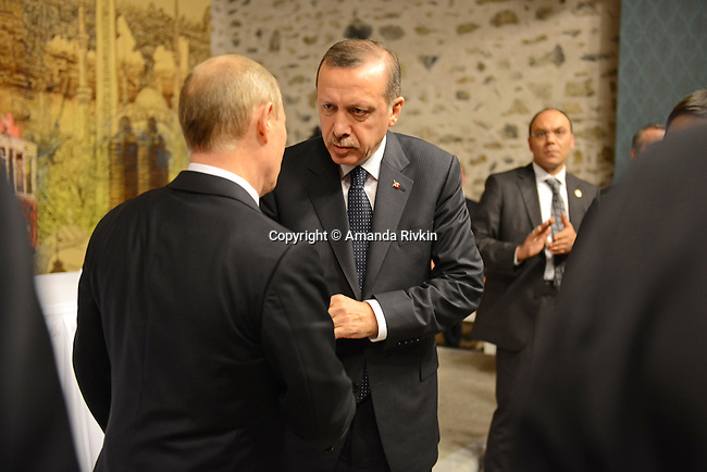 Turkish Prime Minister Recep Tayyip Erdogan shakes hands with Russian President Vladimir Putin following a joint press conference at the Turkish Prime Minister's office at Dolmabahce Palace in Istanbul, Turkey on December 3, 2012.