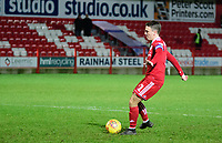 Accrington Stanley's Sean McConville scores during the penalty shoot out<br /> <br /> Photographer Andrew Vaughan/CameraSport<br /> <br /> The EFL Checkatrade Trophy Second Round - Accrington Stanley v Lincoln City - Crown Ground - Accrington<br />  <br /> World Copyright &copy; 2018 CameraSport. All rights reserved. 43 Linden Ave. Countesthorpe. Leicester. England. LE8 5PG - Tel: +44 (0) 116 277 4147 - admin@camerasport.com - www.camerasport.com