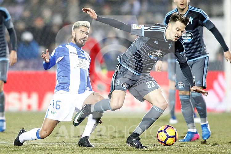 CD Leganes' Diego Rico (l) and Celta de Vigo's Josep Sene during La Liga match. January 28,2017. (ALTERPHOTOS/Acero)