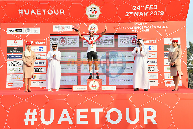 Fernando Gaviria (COL) UAE Team Emirates wins Stage 2 of the 2019 UAE Tour, running 184km form Yas Island Yas Mall to Abu Dhabi Breakwater Big Flag, Abu Dhabi, United Arab Emirates. 25th February 2019.<br /> Picture: LaPresse/Massimo Paolone | Cyclefile<br /> <br /> <br /> All photos usage must carry mandatory copyright credit (© Cyclefile | LaPresse/Massimo Paolone)