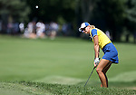 DES MOINES, IA - AUGUST 19: Europe's Anna Nordqvist chips on to the green of the 4th hole in their afternoon four-ball match Saturday at the 2017 Solheim Cup in Des Moines, IA. (Photo by Dave Eggen/Inertia)