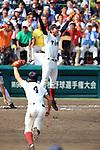 (T-B) Kosuke Fukushima, Takumi Minemoto (Osaka Toin),<br /> AUGUST 25, 2014 - Baseball :<br /> Pitcher Kosuke Fukushima of Osaka Toin celebrates their victory at the end of the 96th National High School Baseball Championship Tournament final game between Mie 3-4 Osaka Toin at Koshien Stadium in Hyogo, Japan. (Photo by Katsuro Okazawa/AFLO)